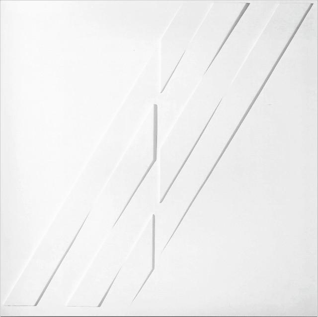 rilievo, estroflessione e acrilico su tavola, 40 x 40 cm, anni 70 r